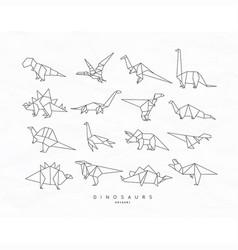 dinosaurus origami set flat vector image