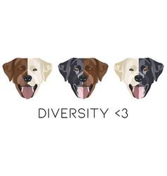 diversity labrador retriever with smile vector image