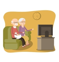 Elderly Couple Sitting on the Sofa and Watching TV vector image