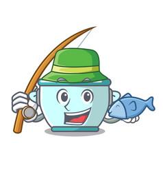 Fishing steel pot mascot cartoon vector