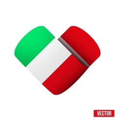 Flag icon in the form of heart I love Italy vector