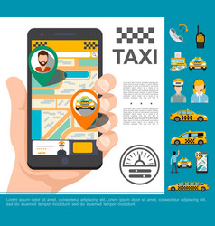 flat taxi online service concept vector image