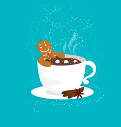 Funny cartoon with gingerbread man in cup hot vector