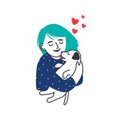 girl hugs puppy portrait sketch vector image