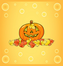 halloween pumpkin on a yellow background in the vector image