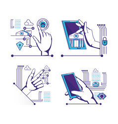 Hands human with fintech icons vector