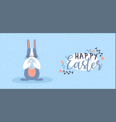 happy easter card cute spring rabbit with egg vector image