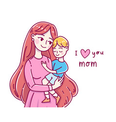 Happy friendship day mother and son vector