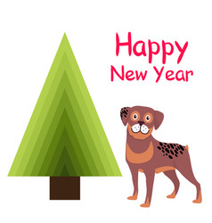 Happy new year greeting card cartoon spotted puppy vector