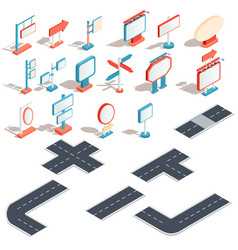 isometric icons billboards advertising vector image