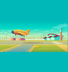 Landing strip for airplanes plane takeoff vector