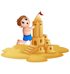 little boy making a big sandcastle at beach vector image
