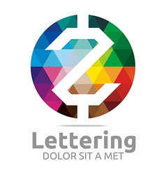 Logo Abstract Lettering Z Rainbow Alphabet Icon vector image