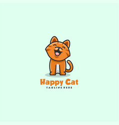 logo happy cat simple mascot style vector image