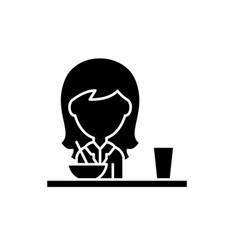 lunch in the dining room black icon sign vector image