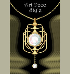 Luxury art deco filigree pendant jewel with worn vector