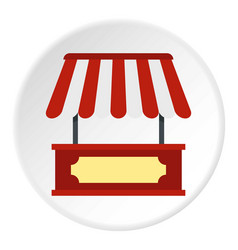 Market stall with red and white awning icon circle vector