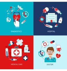Medical icons flat set vector