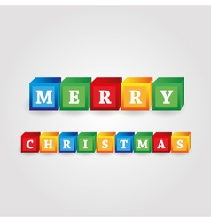 Merry christmas message from color bricks with vector