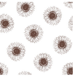 monochrome seamless pattern with sunflower heads vector image