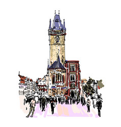 Prague clock tower sketch drawing czech republic vector