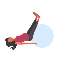 Pregnant woman lying on gymnastic ball girl doing vector