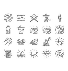 Probiotics icon set vector