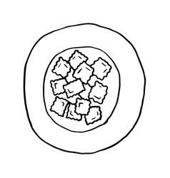 Ravioli italian traditional food hand drawn vector