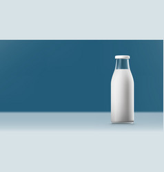 realistic transparent clear milk bottle isolated vector image
