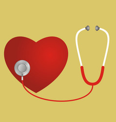 Red heart and a stethoscope vector