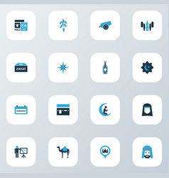 Religion icons colored set with teaching prayer vector