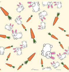 seamless pattern with rabbits and carrots vector image
