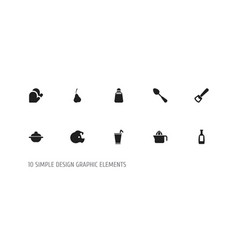 Set of 10 editable cooking icons includes symbols vector