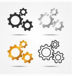 set of black gray silver and gold 3 gears icon vector image