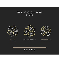 Set of elegant monogram Emblem design vector