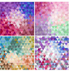 Set of triangular colorful mosaic faceted vector