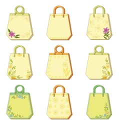 Set tags with floral pattern vector image