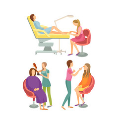 Spa salon pedicure and hair styling process vector