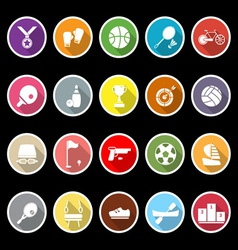 Sport game athletic icons with long shadow vector