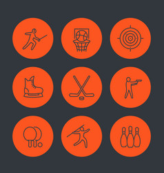 Sports games team sport line icons set vector