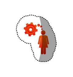 Sticker colorful pictogram woman thought in a vector