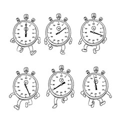 Stopwatch running run cycle drawing sequence vector
