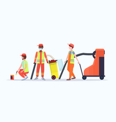 street cleaners in uniform using different vector image