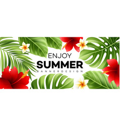 summer sale banner with tropical plant vector image