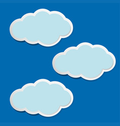 Three fluffy clouds on blue sky vector