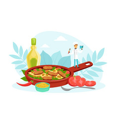 Tiny chef character cooking delicious dish in huge vector