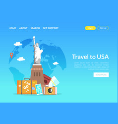 Travel to usa landing page template website vector