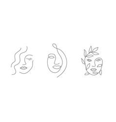 woman face in line style on white background vector image