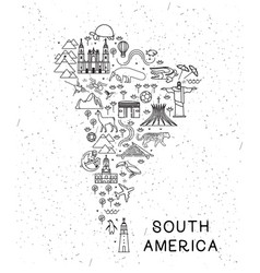 world travel line icons south america map travel vector image