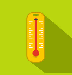 Yellow thermometer icon flat style vector
